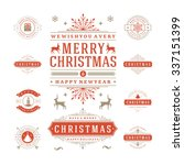 christmas labels and badges... | Shutterstock .eps vector #337151399