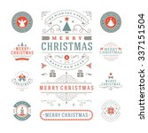 christmas labels and badges... | Shutterstock .eps vector #337151504
