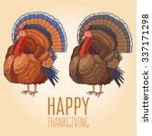 hand drawn happy thanksgiving... | Shutterstock .eps vector #337171298