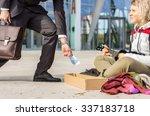 generous businessman gives... | Shutterstock . vector #337183718