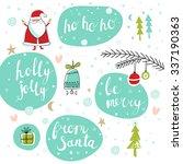 christmas set with santa  tree  ...   Shutterstock .eps vector #337190363