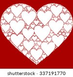 red background with hearts... | Shutterstock .eps vector #337191770