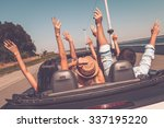 enjoying road trip. rear view... | Shutterstock . vector #337195220