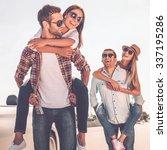 friends having fun. two... | Shutterstock . vector #337195286