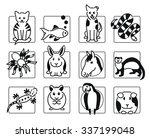 Twelve Popular Pet Animal Icon...