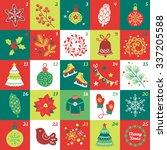 christmas advent calendar with... | Shutterstock .eps vector #337205588