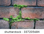 Ancient Red Brick Wall With...
