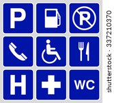 blue parking symbols and signs... | Shutterstock .eps vector #337210370