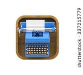 shiny blue vintage typewriter...