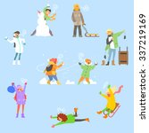 winter fun and activities.... | Shutterstock .eps vector #337219169