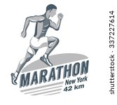 man running marathon and...   Shutterstock .eps vector #337227614