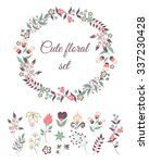 set of cute doodle flowers and... | Shutterstock .eps vector #337230428
