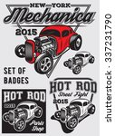 set of retro badges with hot rod | Shutterstock .eps vector #337231790