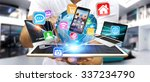 businessman holding multimedia... | Shutterstock . vector #337234790