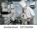 confident chef keeps the meat... | Shutterstock . vector #337236584
