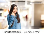 happy young woman looking for | Shutterstock . vector #337237799
