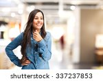 happy young woman smiling | Shutterstock . vector #337237853