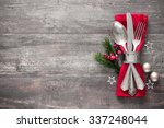 christmas table place setting.... | Shutterstock . vector #337248044