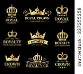 vector crown logos set. luxury... | Shutterstock .eps vector #337255358
