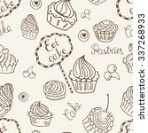 hand drawn seamless with set of ... | Shutterstock .eps vector #337268933