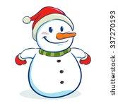 happy snowman character wearing ... | Shutterstock .eps vector #337270193