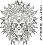 skull of native american in... | Shutterstock .eps vector #337314698