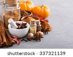 homemade pumpkin pie spice in a ... | Shutterstock . vector #337321139