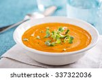 curried carrot soup with cream... | Shutterstock . vector #337322036