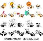 icons of cute monkeys part 4   Shutterstock .eps vector #337337360