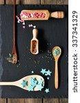 sugar sprinkle dots on slate... | Shutterstock . vector #337341329