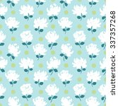 Flowers And Dots Seamless...