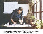 man working determine workspace ... | Shutterstock . vector #337364699
