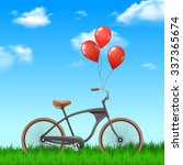 realistic bicycle with red... | Shutterstock .eps vector #337365674