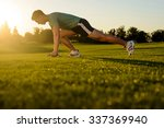 guy is wrung on the green... | Shutterstock . vector #337369940
