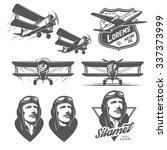 Set Of Vintage Aircraft Design...
