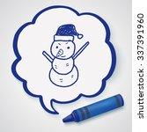 snowman doodle | Shutterstock .eps vector #337391960