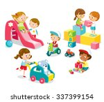 children play with toys in the... | Shutterstock .eps vector #337399154