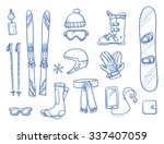 icon set of ski   winter sports ... | Shutterstock .eps vector #337407059