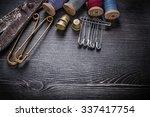 vintage rough scissors reels of ... | Shutterstock . vector #337417754