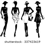 black and white retro fashion... | Shutterstock .eps vector #337423619