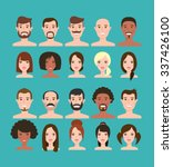 man and woman faces big set... | Shutterstock .eps vector #337426100