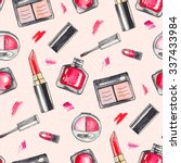 watercolor make up products set.... | Shutterstock . vector #337433984