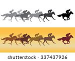 horse racing. jockeys on horses ... | Shutterstock .eps vector #337437926