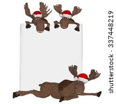 cartoon 3d mooses with a blank... | Shutterstock . vector #337448219