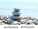 Stack With Stones On Sea Beach...