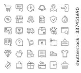 shopping icons set  thin line ...