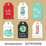 christmas gift tags set. vector ... | Shutterstock .eps vector #337454048