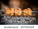 cooking 3 rotisserie chicken on ... | Shutterstock . vector #337455269