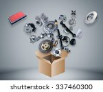 many spare parts flying out of... | Shutterstock . vector #337460300