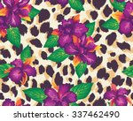 tropical seamless print with... | Shutterstock .eps vector #337462490